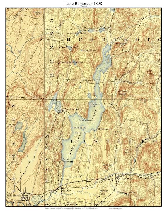 Topographic Map Vermont.Lake Bomoseen 1898 Old Topographic Map Usgs Custom Etsy