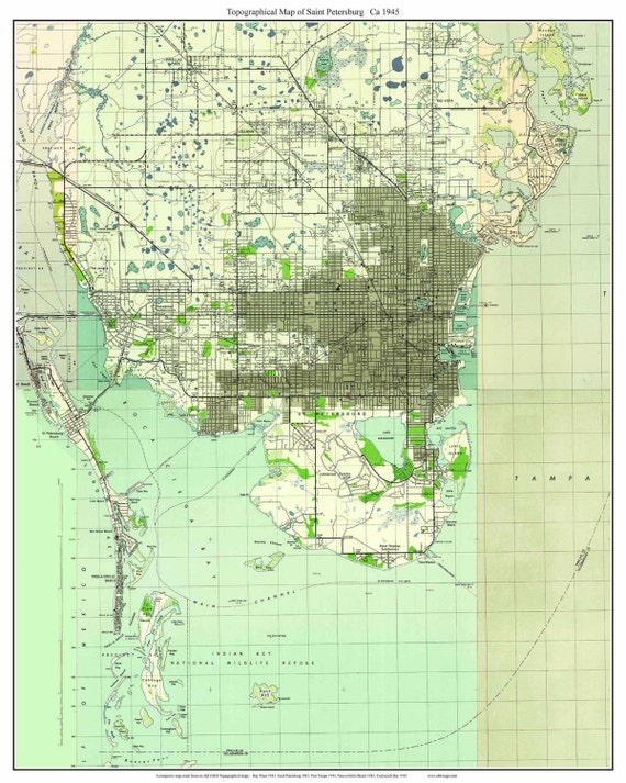 Topo Map Florida.St Petersburg Florida 1945 Old Topo Map A Composite Made Etsy