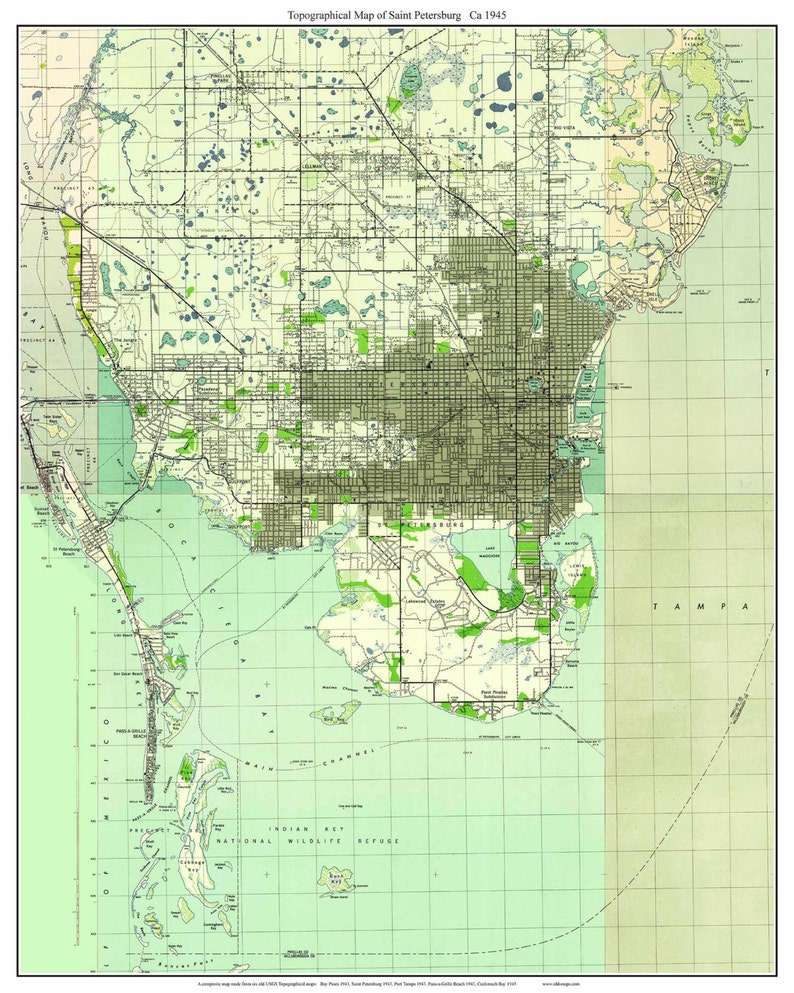 St. Petersburg Florida 1945 Old Topo Map - A Composite made from 6 old USGS  Topographical Maps - Custom Reprint