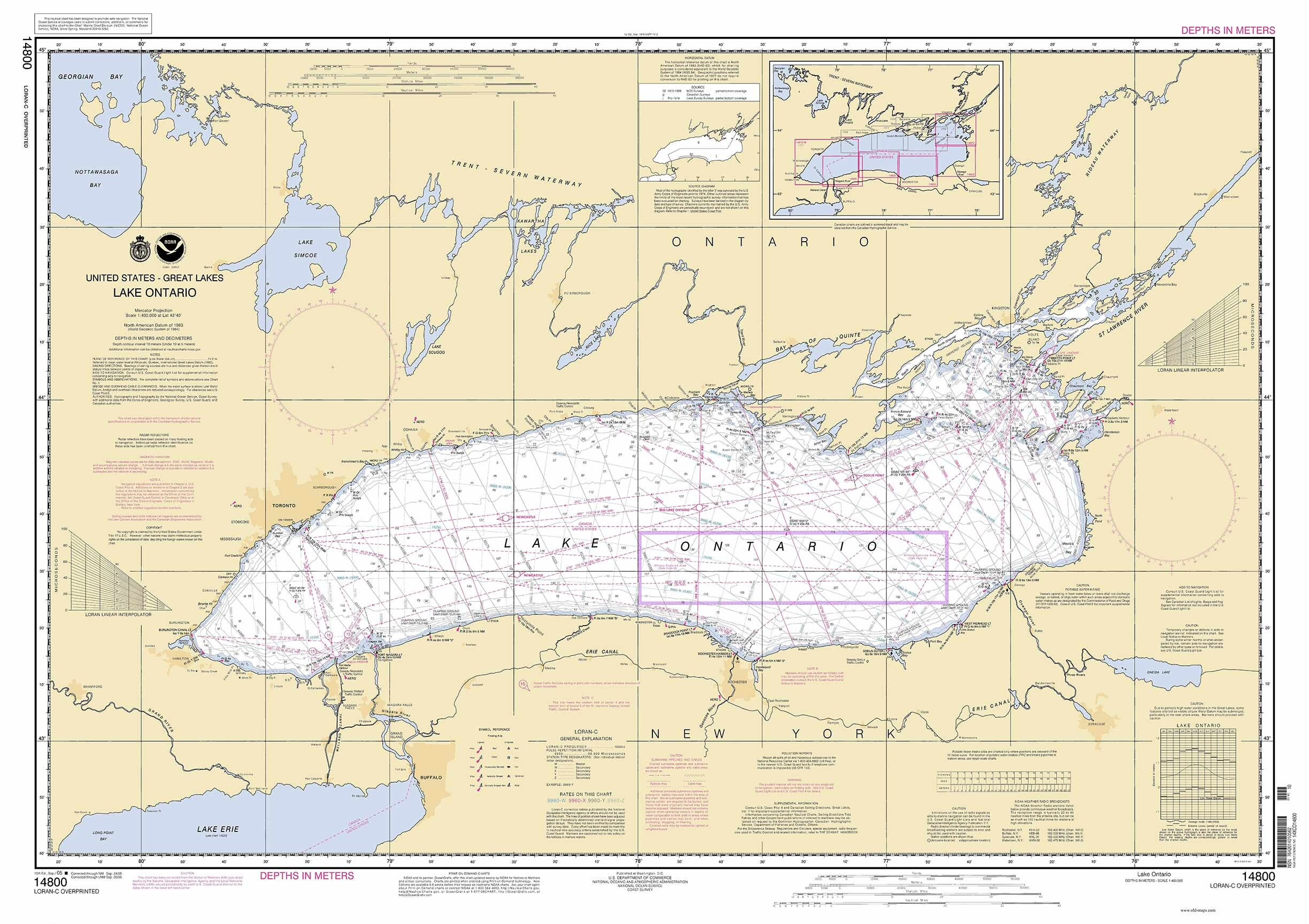 Lake Ontario 2005 Nautical Map Reprint - Great Lakes 002 on map of ontario canada lakes, map of road united interstate highway, map mn cities, map of lake michigan, map of balsam lake, map of ny state lakes, map of palm beach county, map of bwca lakes, map of lakes in california, map of ar lakes, map of maine usa, map of lakes in vermont, map of africa lakes, map of bc lakes, map of michigan townships, map of orange county, map of eastern sd lakes, map of minn, map of western pa lakes, map of sask lakes,
