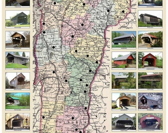 Covered Bridges of Vermont - 1856 Colton Map - 2014 Publication - Old Map Custom Print VT Specials