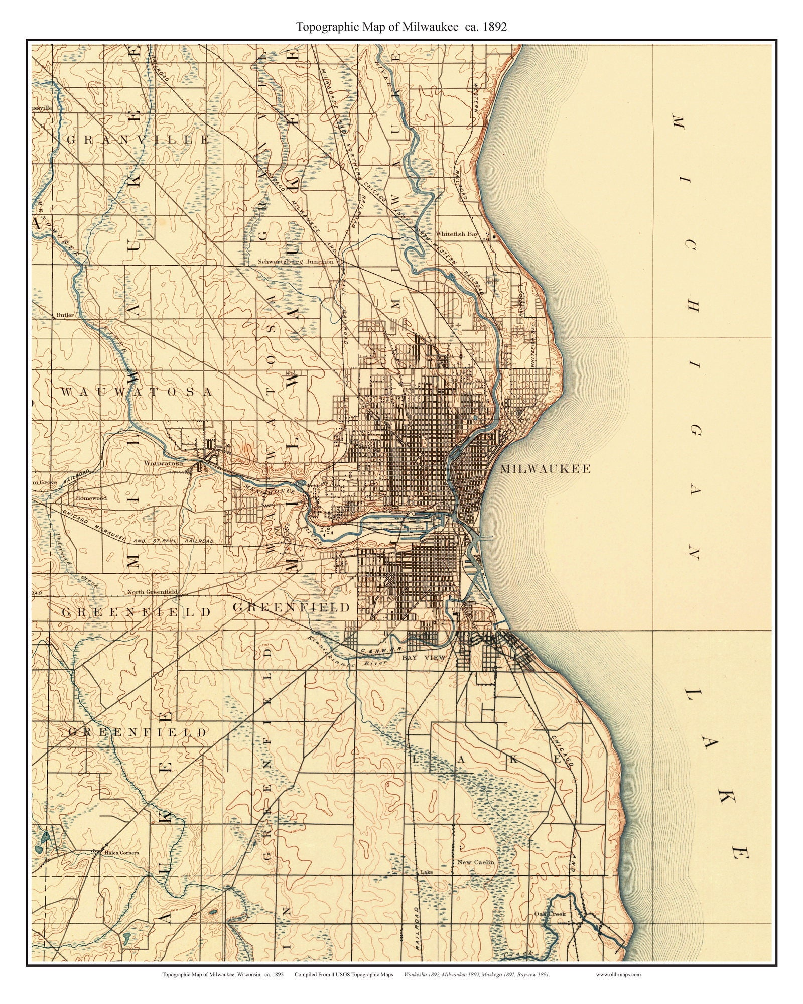 Milwaukee Ca 1892 Usgs Old Topographic Map Custom Etsy