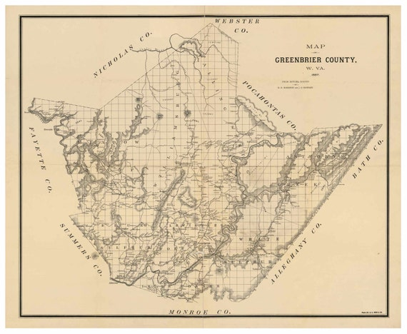 Greenbrier County Map 1887 West Virginia Old Wall Map With Etsy