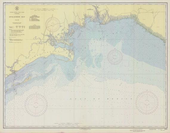 St George Island Florida Map.Apalachee Bay 1943 Ochlockonee Bay Aucilla River Rock Point Etsy