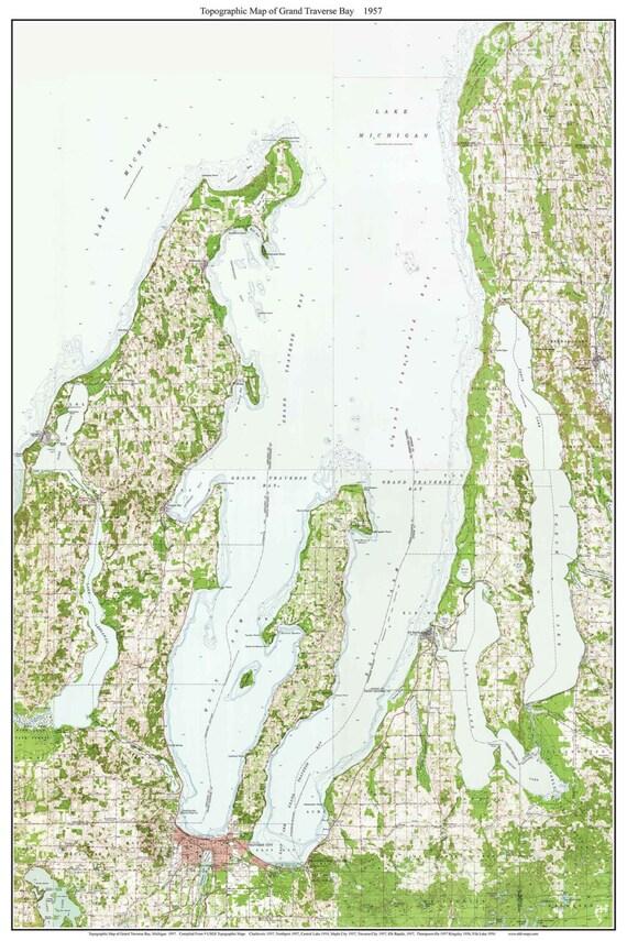Grand Traverse Bay Michigan 1957 Usgs Old Topo Map Custom Composite Reprint