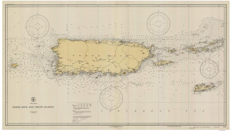 Porto Puerto Rico and Virgin Islands 1931 Nautical Map | Etsy