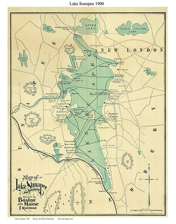 Lake Sunapee 1900 Map Boston and Maine Railroad Reprint | Etsy