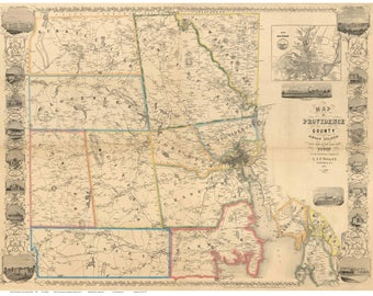 Providence County, Rhode Island 1851 - Old Wall Map Reprint with Homeowner Names