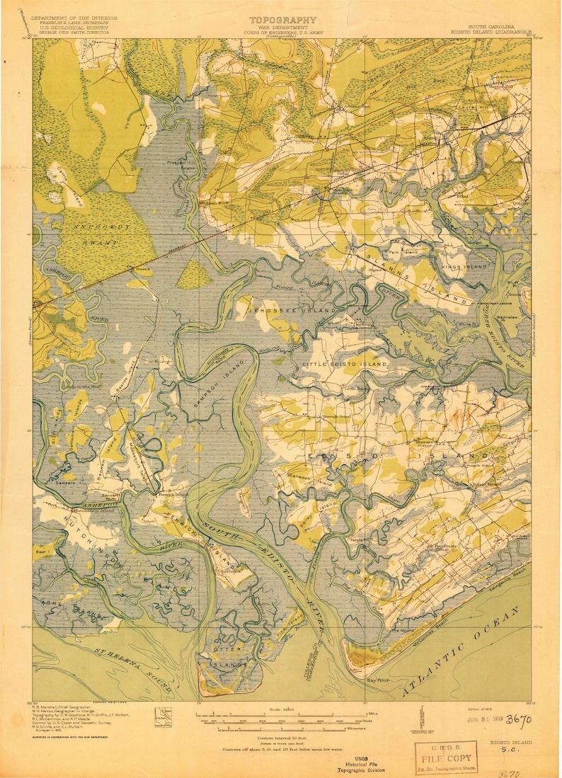 Edisto Island 1919 1919 Old Topo Map quad reprint | Etsy