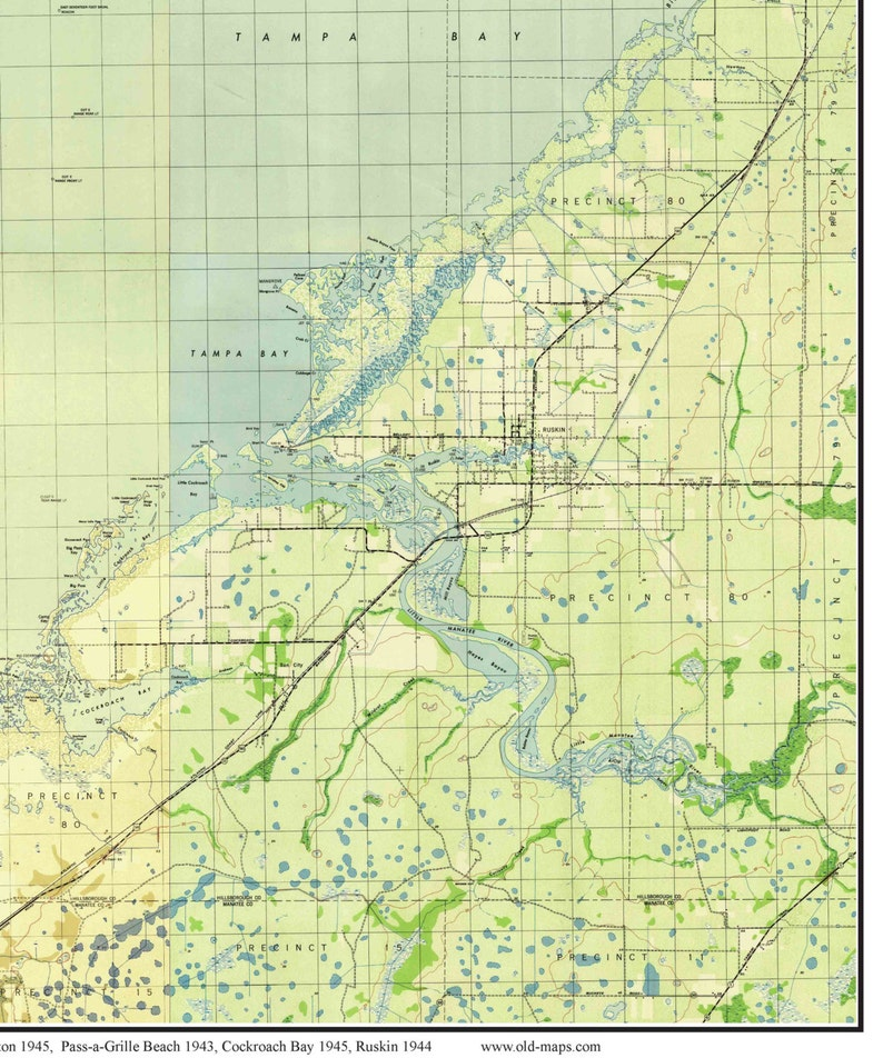 Tampa Topographic Map.Tampa Bay Florida 1945 Old Topo Map A Composite Made From Etsy