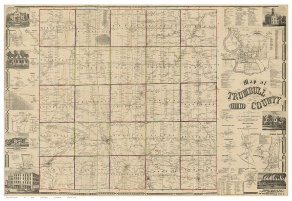 Trumbull County Ohio 1856 Old Wall Map Reprint With Etsy