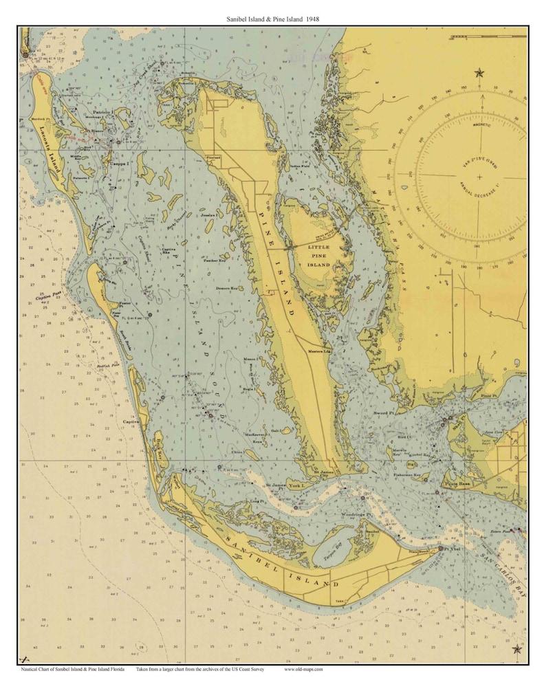 Sanibel Island Pine Island 1948 Nautical Map Florida Etsy