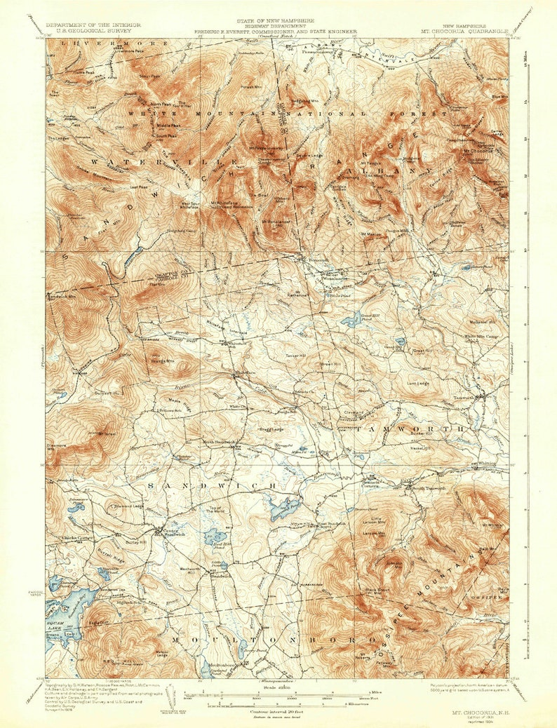 Mount Pawtuckaway 1919 (1919a) ED Old Topo Map - Bow Lake Village Epping on