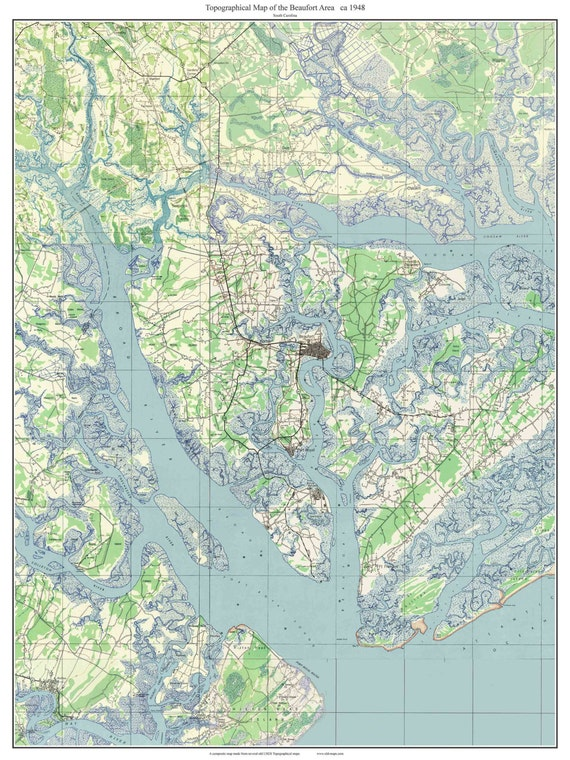Beaufort South Carolina 1948 Old Topographic Map Usgs Etsy
