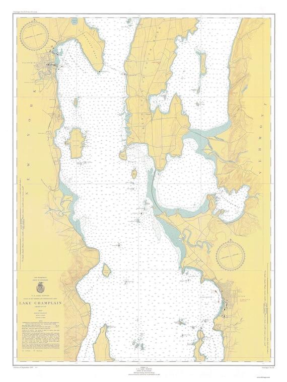 Lake Champlain Plattsburgh Ny Burlington Vt 1947 Etsy - Lake-champlain-on-us-map