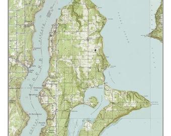 Vashon Island - ca. 1949  - USGS Old Topographic Map  Custom Composite Washington