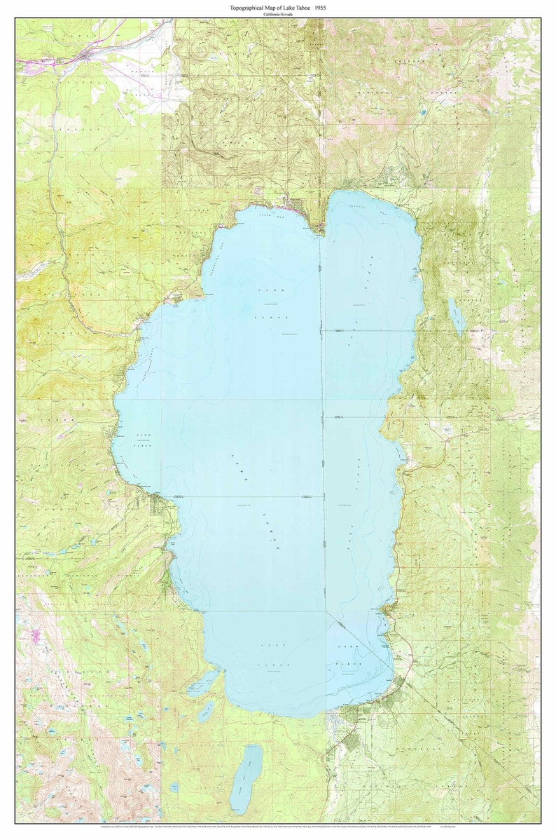 Topographic Map Usgs.Lake Tahoe 1955 Old Topographic Map Usgs Custom Composite Etsy