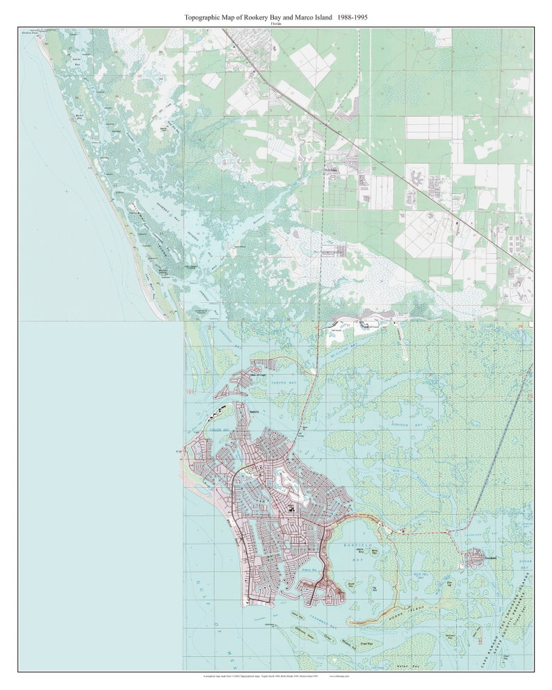 Rookery Bay and Marco Island, Florida 1988 Old Topo Map - A Composite made  from 3 old USGS Topographical Maps - Custom Reprint