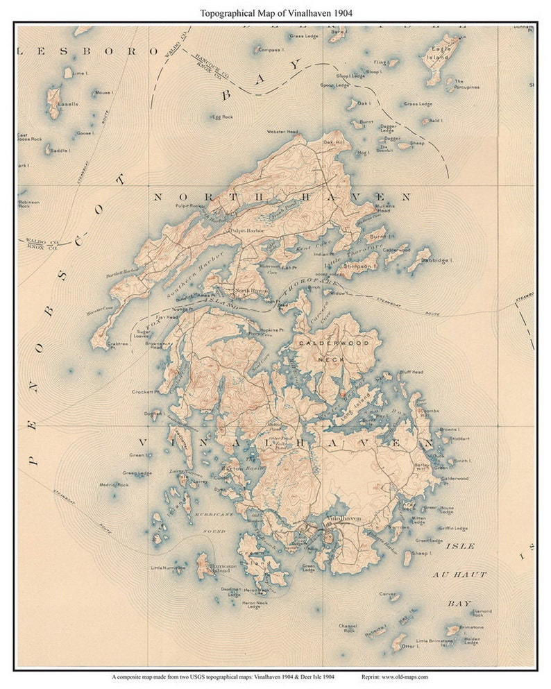 Vinalhaven 1904 Usgs Old Topographic Map Custom Composite Etsy