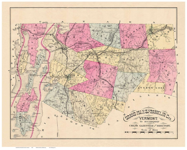 Grand Isle and Franklin Counties Vermont 1883 - Childs Gazetteer &  Directory - Old Map Reprint