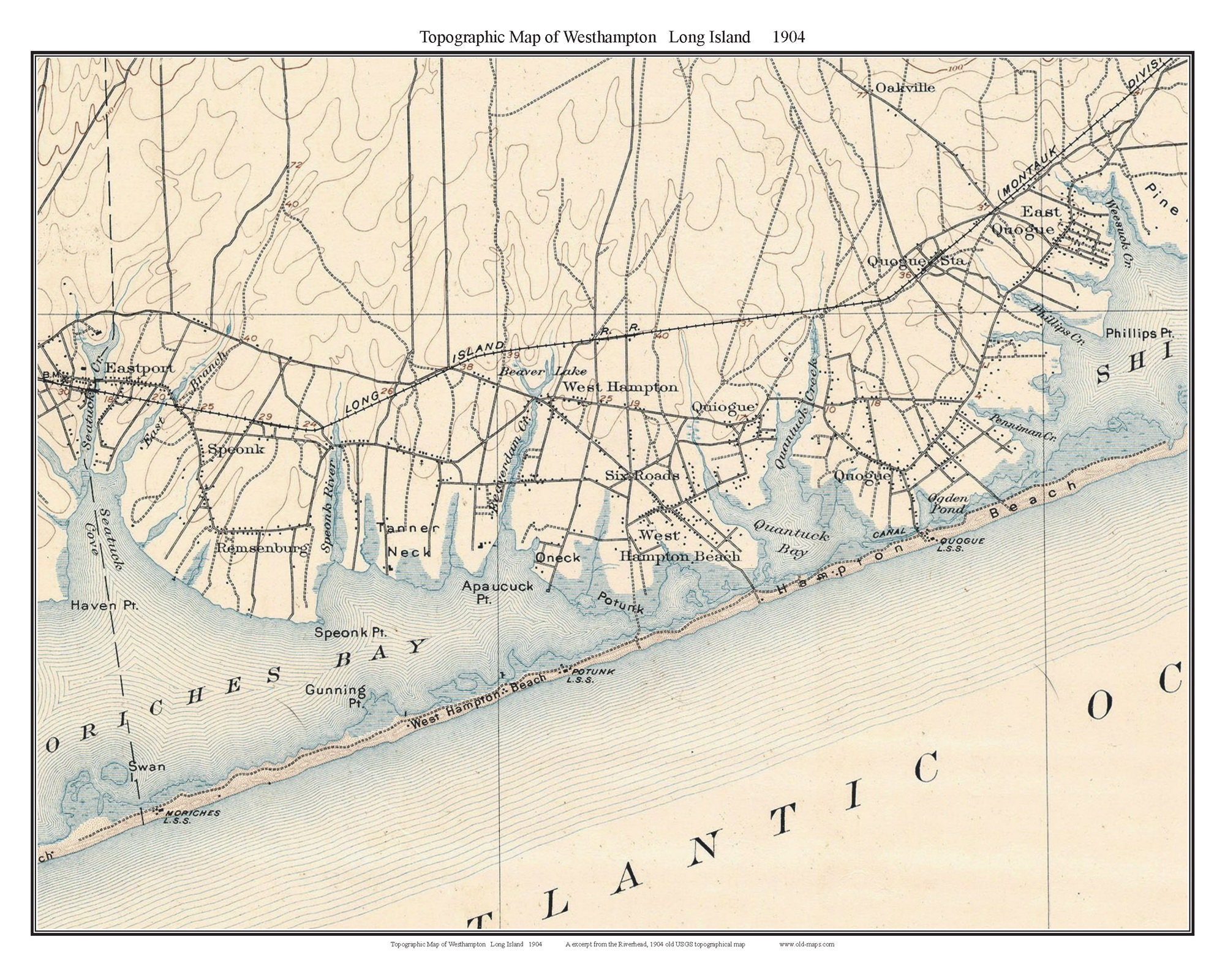 Topographic Map Long Island.Westhampton 1904 Long Island New York Old Usgs Topo Map Etsy