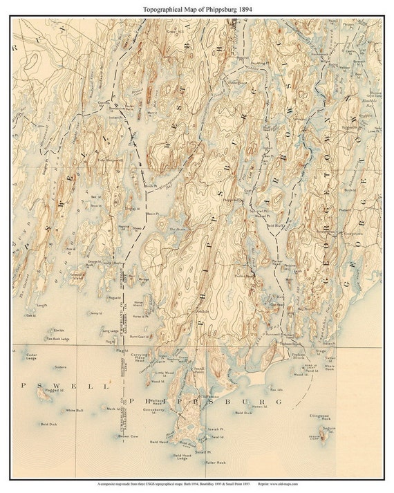Topo Map Of Maine.Phippsburg Maine Old Usgs Old Topo Map 1894 Custom Reprint Etsy