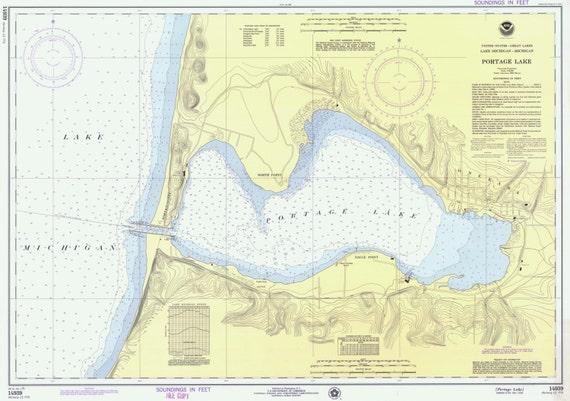Portage Lake Michigan Map.Portage Lake 1975 Lake Michigan Michigan Nautical Map Reprint 10000