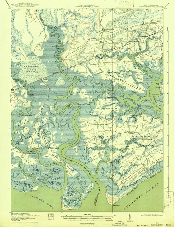 Edisto Island 1919 (1943) Old Topo Map - quad reprint - 15x15 USGS  Topographic South Carolina St Helena Sound