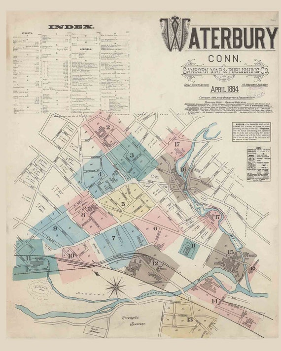 Waterbury 1884 Old Map Fire Insurance CT Connecticut -Reprint