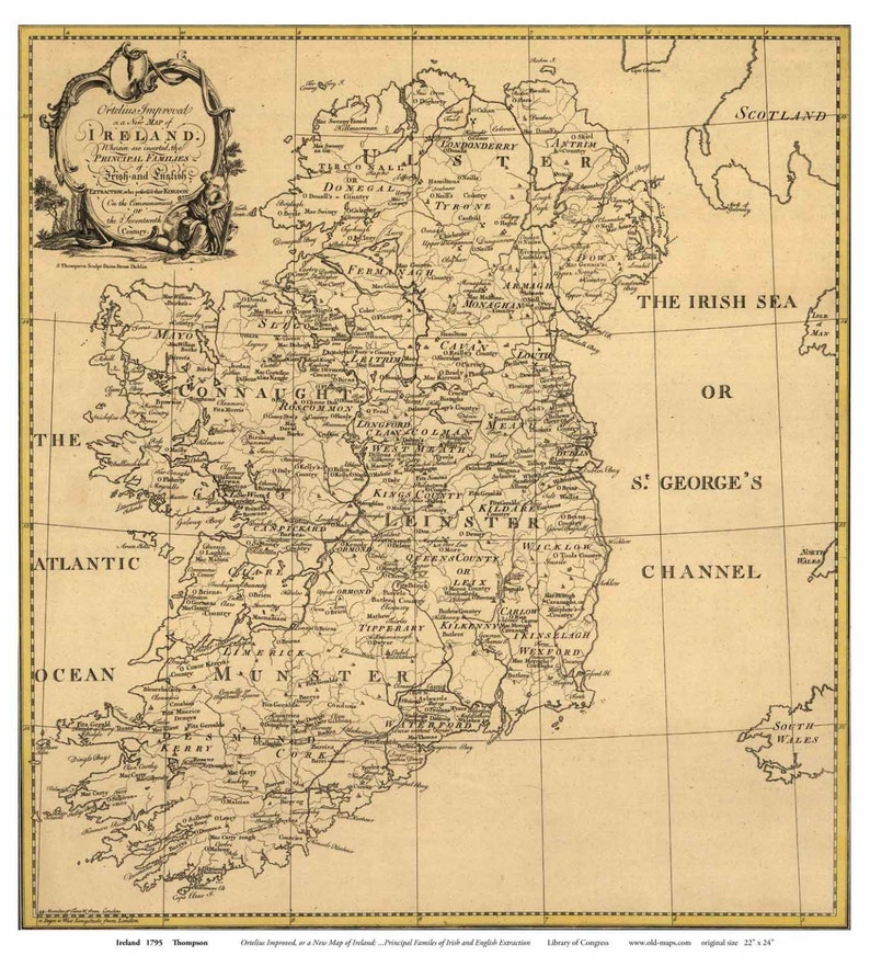 Map Of Ireland Castles.Ireland 1795 Map Thompson With Family Names Old Map Reprint