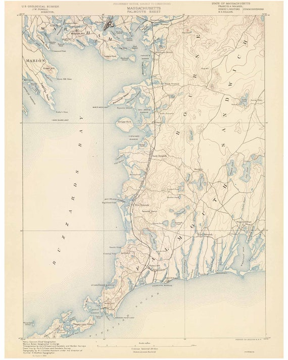 Topographic Map Massachusetts.Falmouth 1890 Old Topo Map Buzzards Bay Edited Reprint Of Etsy