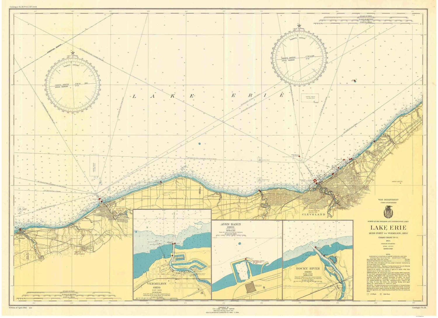 Lake Erie - 1944 - Moss Point to Vermilion, Ohio - Cleveland - Nautical Map  Reprint - Great Lakes #3 - 35