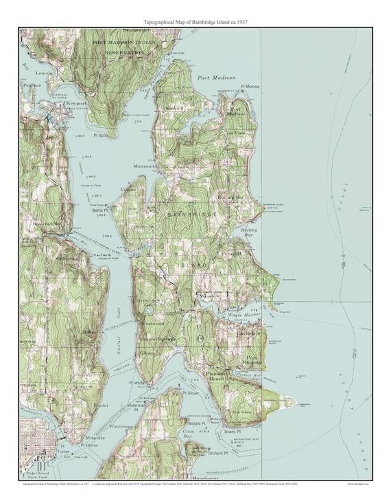 Bainbridge Island Ca 1937 Usgs Old Topographic Map Etsy