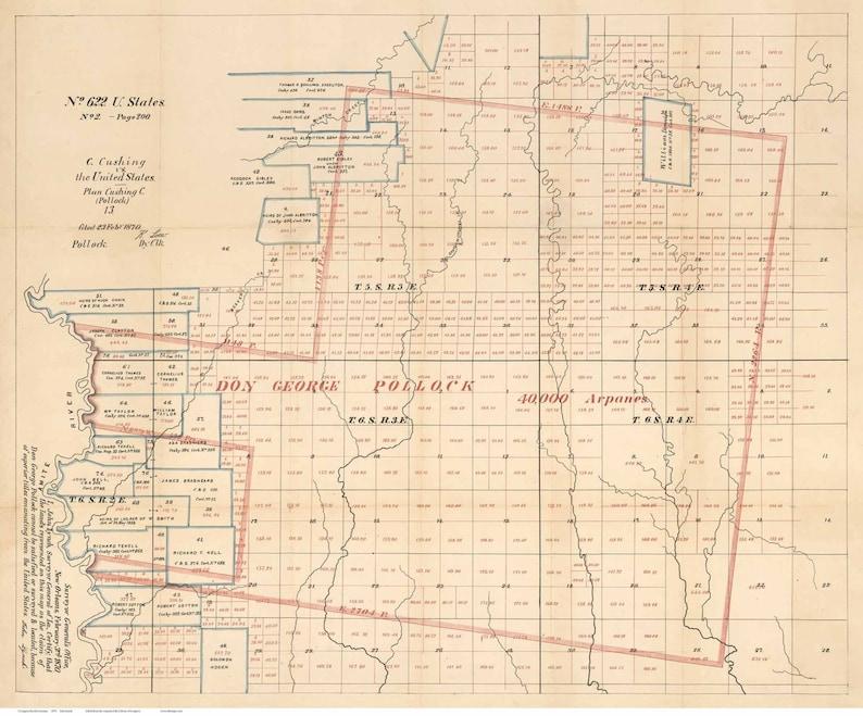Livingston Parish Louisiana 1870 Old County Wall Map With Etsy