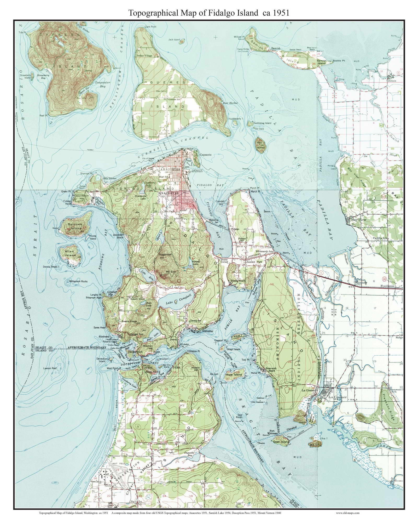 Fidalgo Island Ca 1951 Usgs Old Topographic Map Custom Etsy