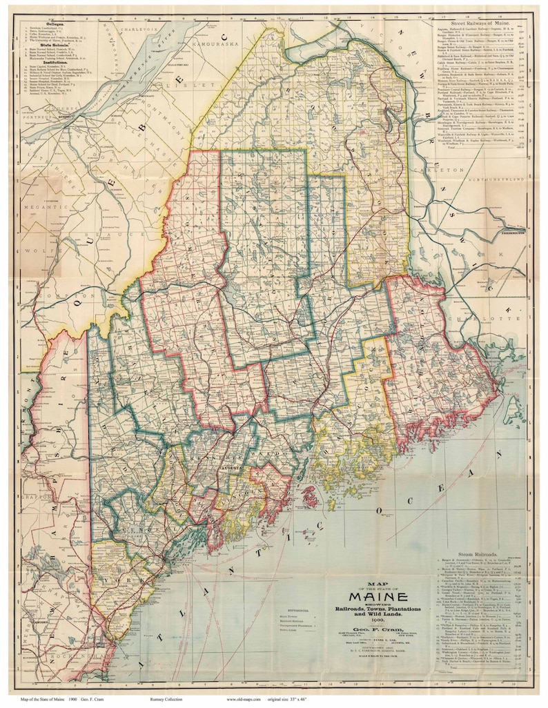Maine Map Towns.Maine 1900 Map Showing Railroads Towns Plantations Etsy