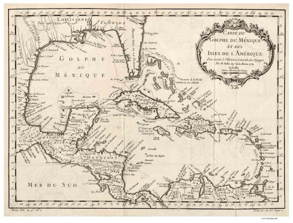 Map Of Florida Cuba And Puerto Rico.Caribbean 1754 Map By Bellin French Reprint Cuba Puerto Etsy
