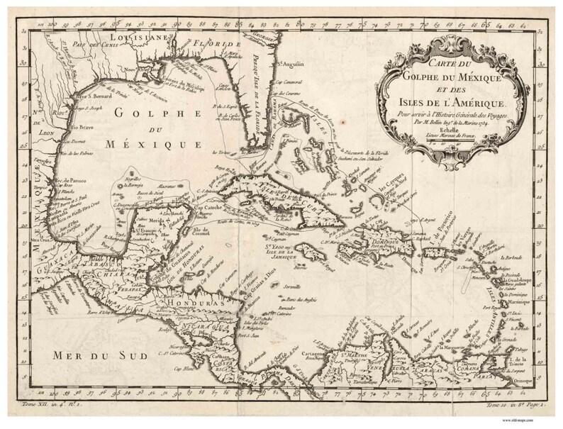 Carte Cuba Amerique.Caribbean 1754 Map By Bellin French Reprint Cuba Puerto Etsy