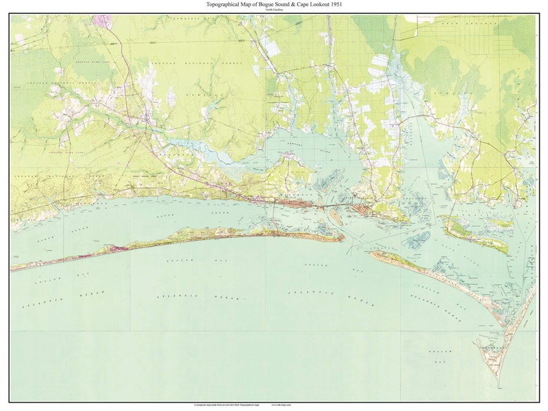Bogue Sound Cape Lookout Nc 1951 Old Topographic Map Usgs Etsy
