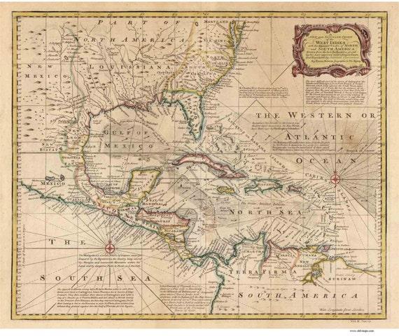 Map Of Florida Cuba And Puerto Rico.Caribbean 1720 Map By Bowen Reprint Cuba Puerto Rico Etsy