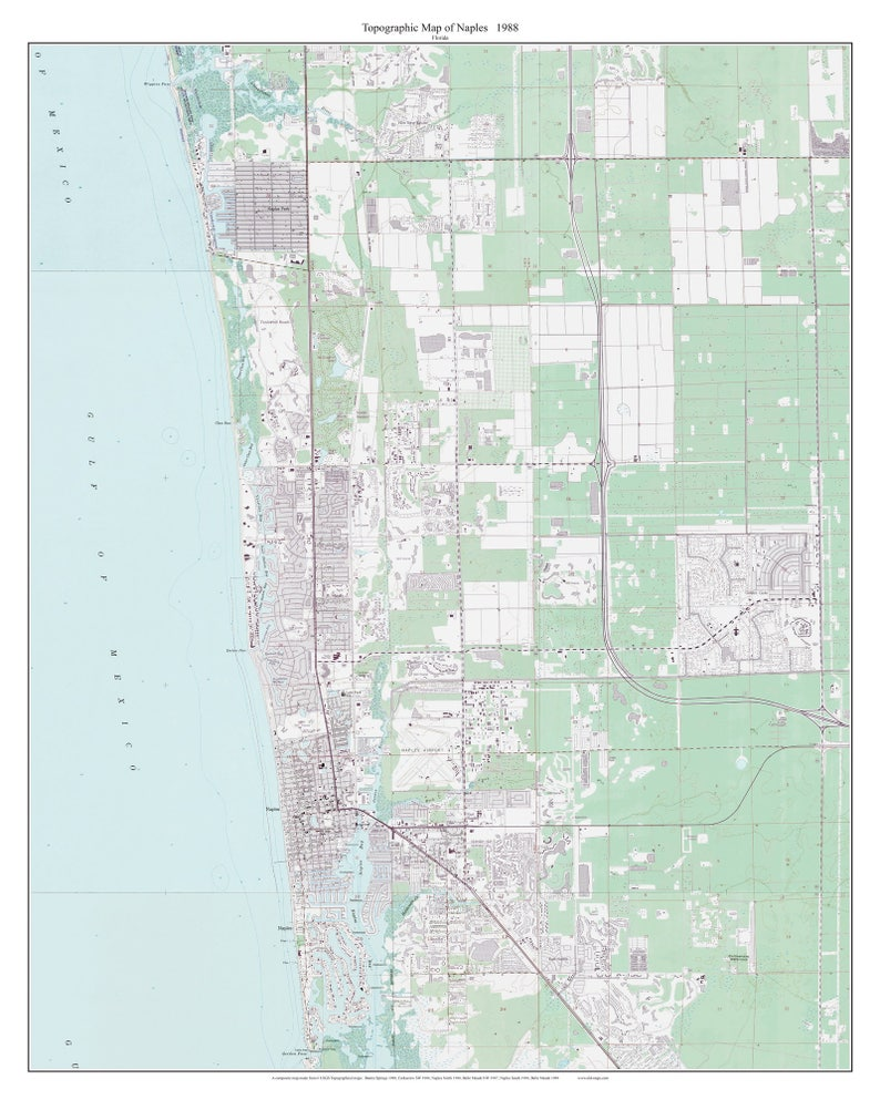 Naples, Florida 1988 Old Topo Map - A Composite made from 6 old USGS  Topographical Maps - Custom Reprint