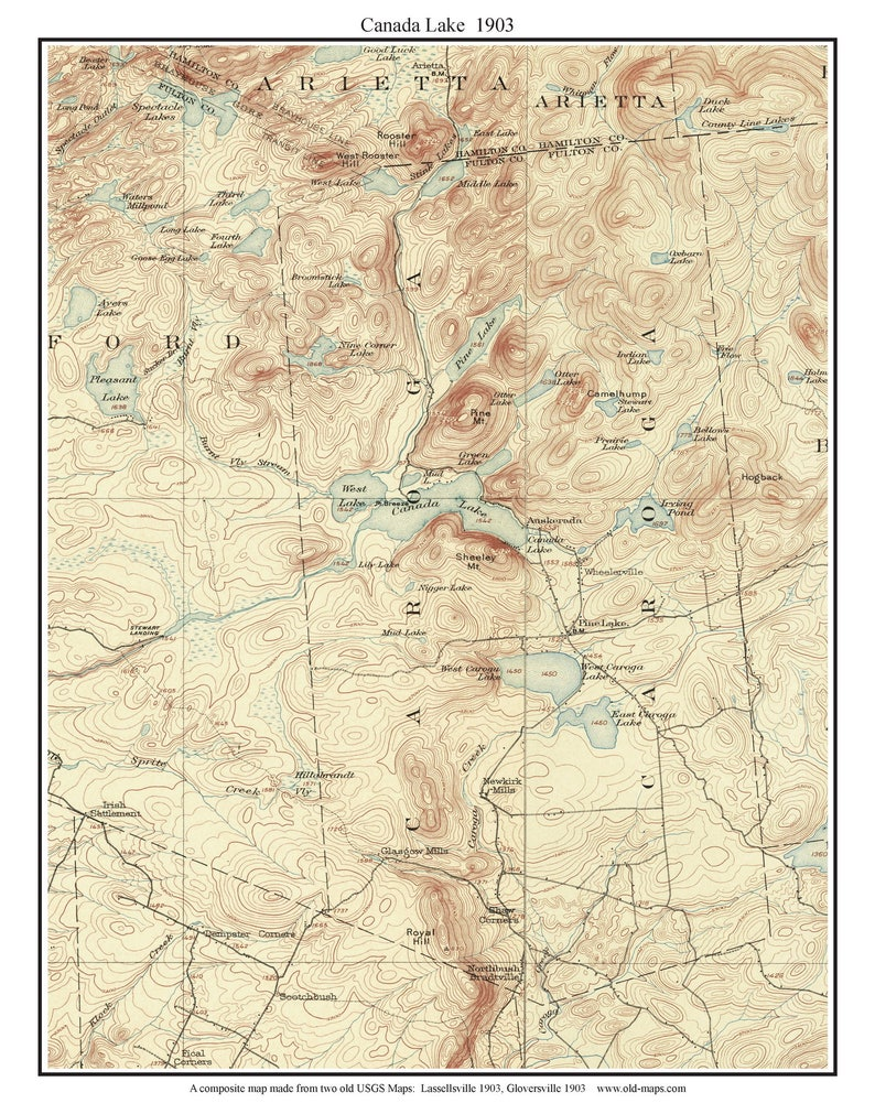 Canada Lake 1903 USGS Old topo map - Reprint - Custom Composite of several  USGS maps - New York Eastern Lakes