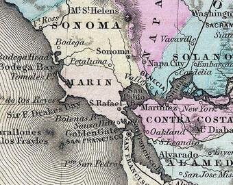 California 1855 Map  Colton  Reprint