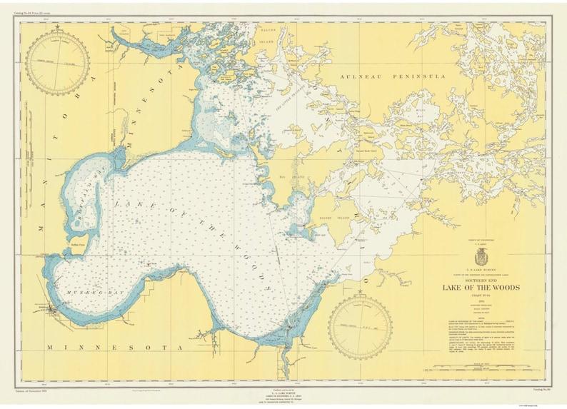 Lake of the Woods 1951 - Nautical Map Reprint -Great Lakes Harbors -  Minnesota and Ontario Border Lakes -8 - 84 14999
