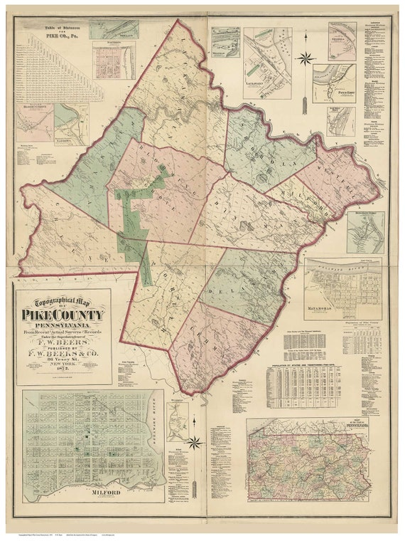 Pike County Pennsylvania 1872 Wall Map With Homeowner Etsy