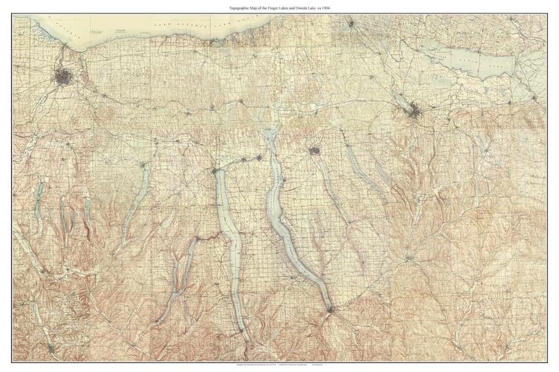 Map Of New York Finger Lakes Region.Finger Lakes And Oneida Lake Ca 1904 Poster Map New York Usgs Old Topo Custom Composite Reprint Finger Lakes