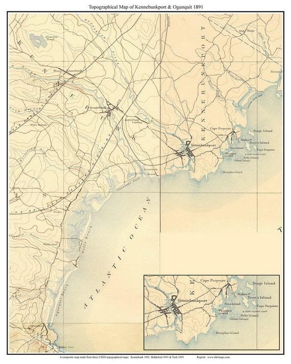 Kennebunkport Ogunquit 1891 Old Topographic Map Usgs Custom Etsy