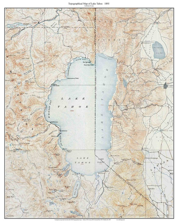 Lake Tahoe 1895 Old Topographic Map USGS Custom Composite | Etsy