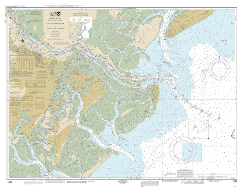 Savannah River And Wassaw Sound 2017 Old Map Nautical Chart Etsy
