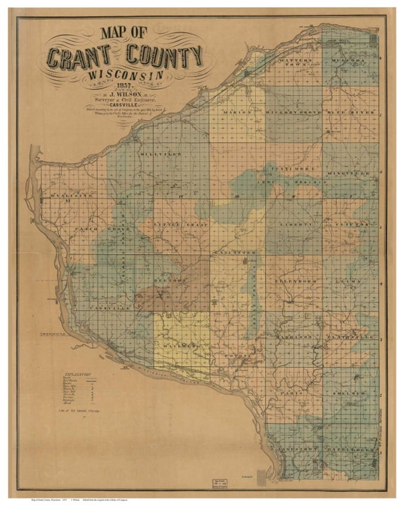Grant County Wisconsin 1857 - Old Wall Map Reprint with Homeowner Names on ivcc map, ky map, dc map, ri map, nh map, indiana map, vt map, replica map, nm map, chicago map, gh map, fl map, oh map, usa map, ks map, ga map, mo map, mi map, minnesota map,